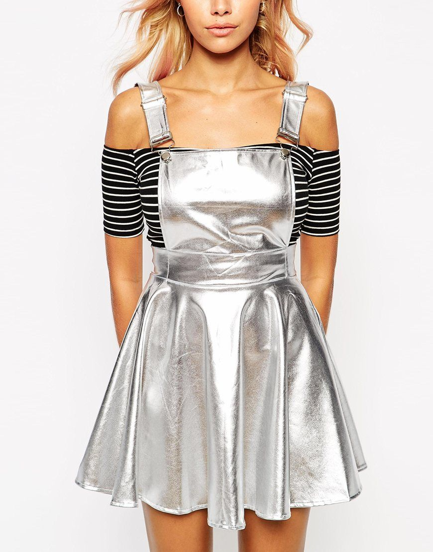 56c9ffa461d O'Mighty Overall Dress In Silver Metallic Fabric | Festival | Silver ...