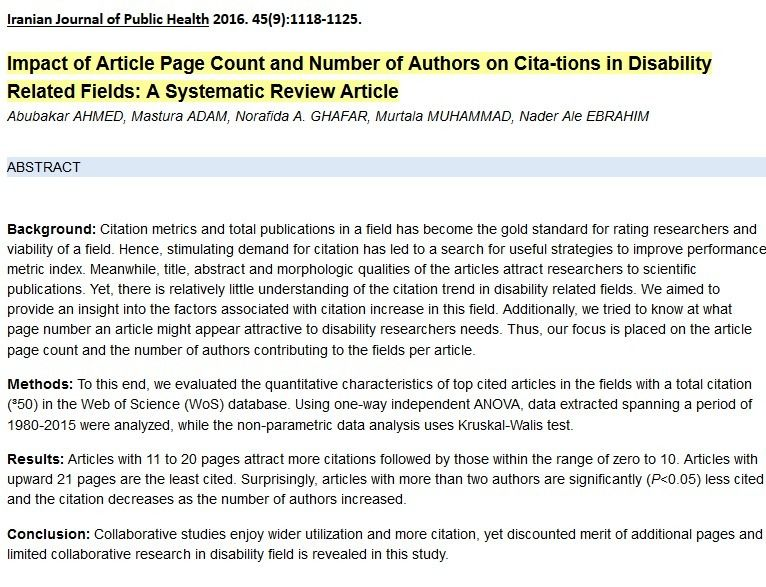 Impact Of Article Page Count And Number Of Authors On Citations In Disability Related Fields A Systematic Review Article Citations Fields Author