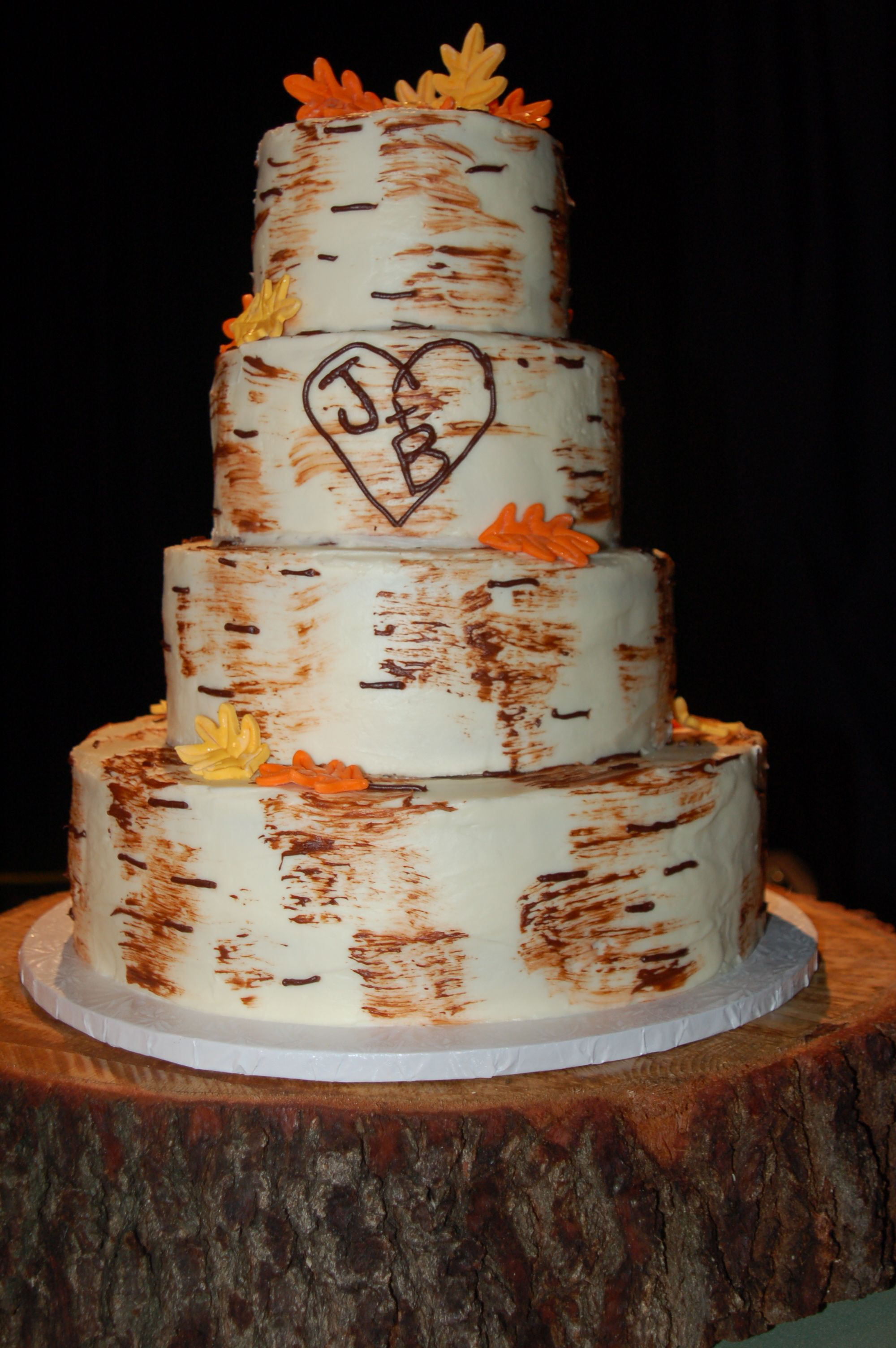 Tree Bark Wedding Cake With Tree Stump Cake Stand Cakes - Wedding Cake Tree Bark