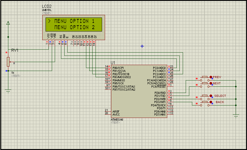 selection menu for text lcd using atmega 8 just execute