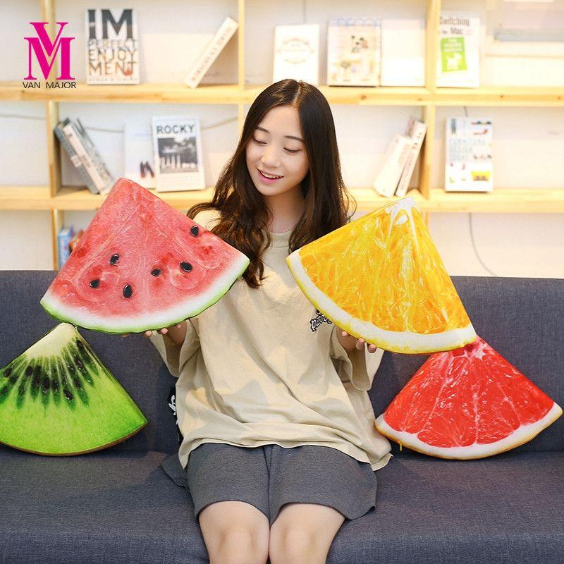 1pc Cute Plush Simulation Fruit Semicircle Watermelon Orange ...