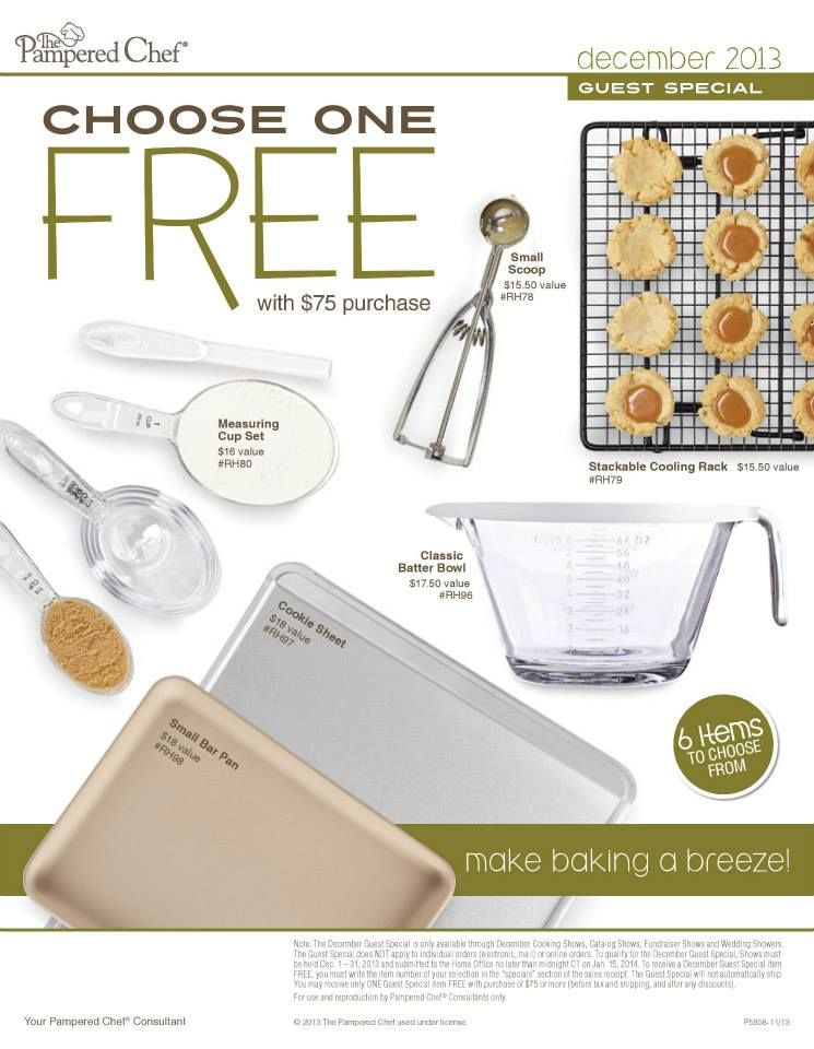 Pampered Chef Offers A Free Choice Item With A 75 Order Choose
