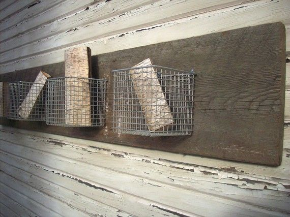 Wire Wall Hanging Baskets rustic wall hanging wall storage hanging metal baskets / 4 baskets