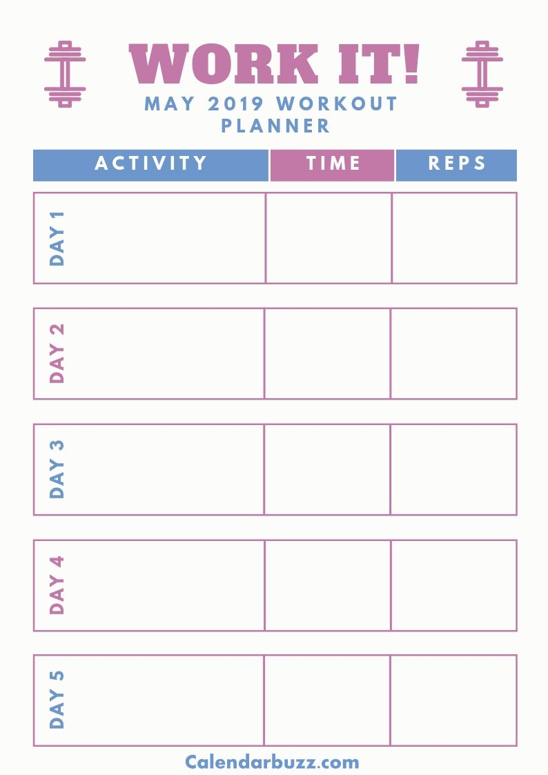 May 2019 Planner Printable Daily Weekly Templates Fitness