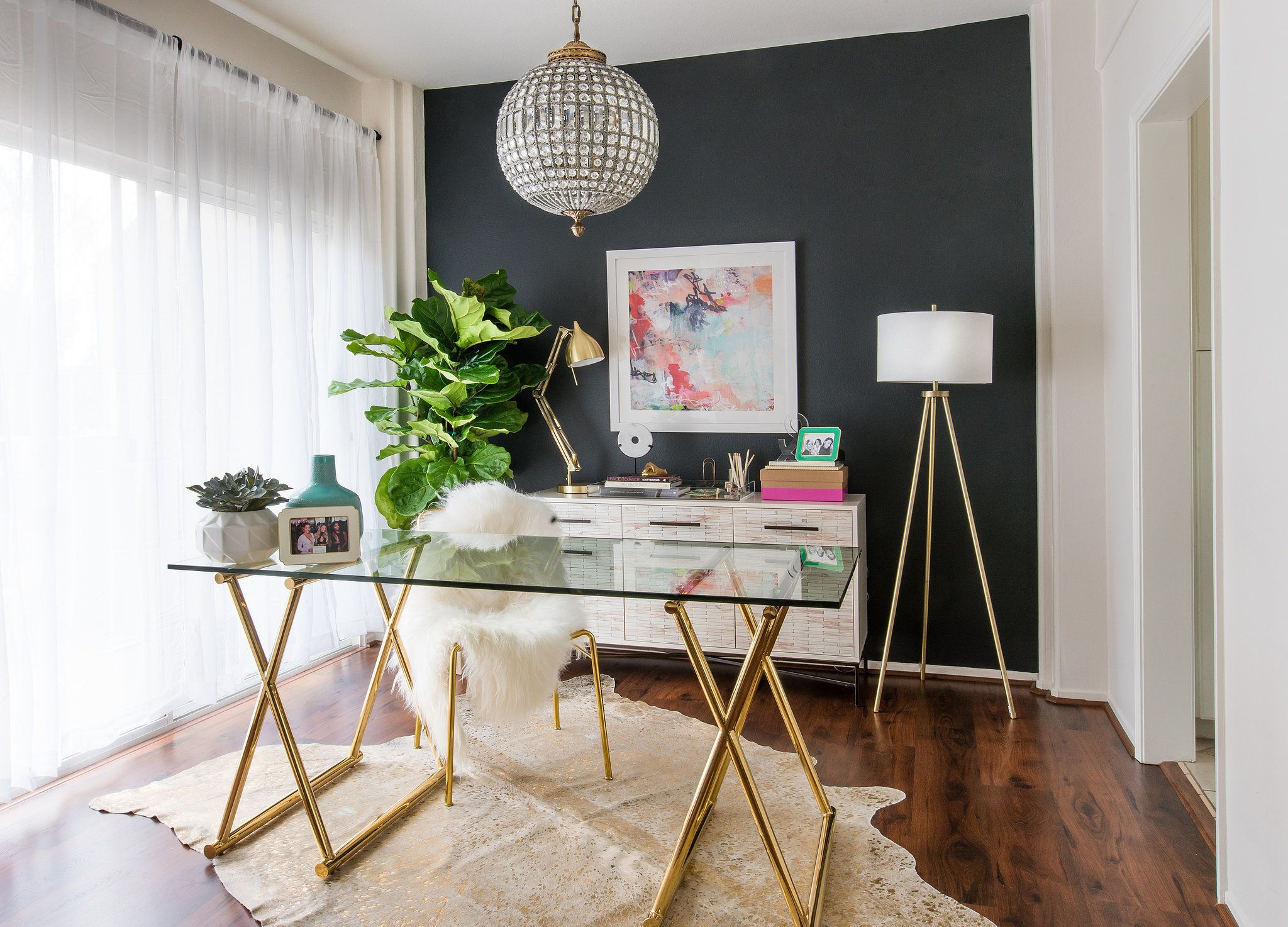 """For my work space, I wanted something that was really chic, not too busy, somewhere where I felt relaxed a..."