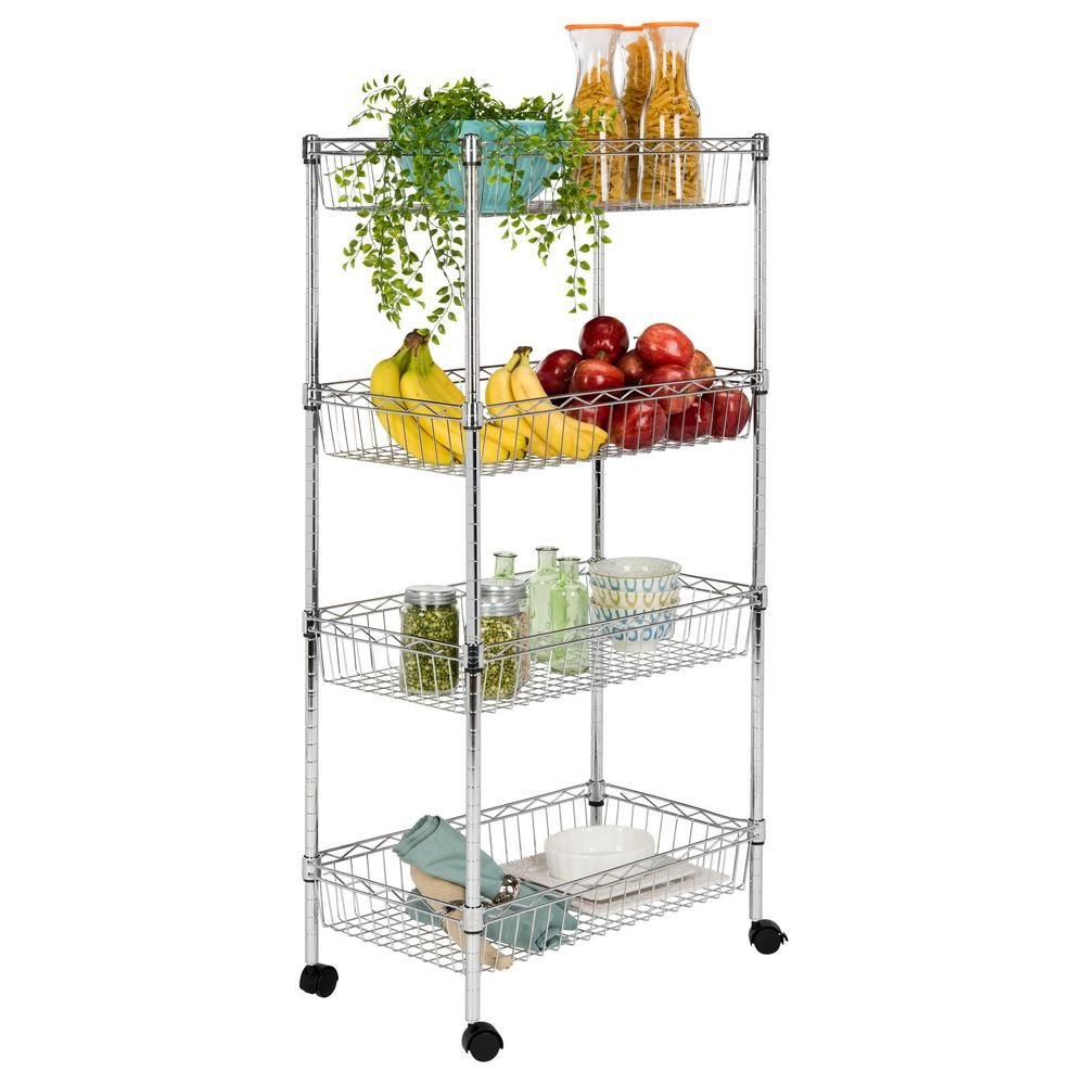 Happimess Grove 4 Shelf 47 In Chrome Basket Rack With Casters