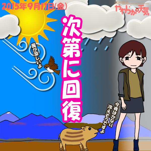 きょう(11日)の天気は「晴れ間も」。晴れ間もありますが、雲の出やすい空模様。新潟県境では弱い雨が降ることもありそう。日中は西~北寄りの風が強めに吹く時間も。日中の最高気温はきのうと大体同じで、中野や飯山の市街地で26度くらいの予想。