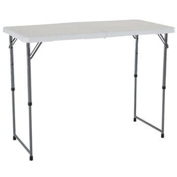 lifetime adjustable leg table white 4 foot foldinhalf folding table