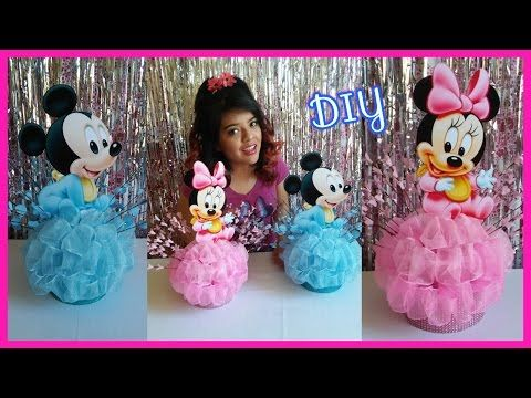578a5025d Centro de Mesa de Bebe Mickey y Bebe Minnie Mouse   DIY Baby Mickey    Minnie Mouse Centerpieces - YouTube
