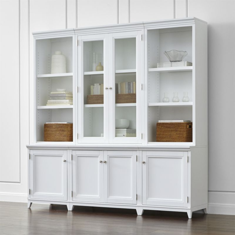 Harrison 6 Pc White Modular Wall Unit Gl Doors 84 Crate And Cabinets Sideboards Ikea