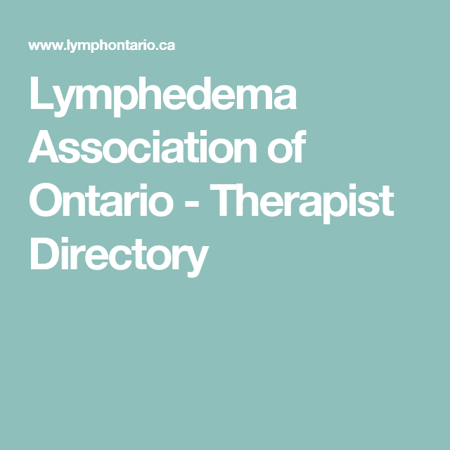 Lymphedema Association of Ontario - Therapist Directory