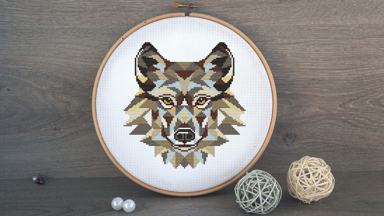 Geometric Wolf Cross Stitch Pattern By Annaxstitch