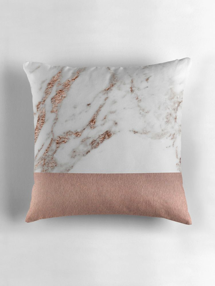 Rose Gold Marble And Foil Throw Pillow By Peggieprints