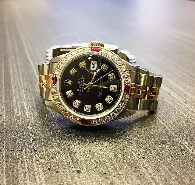 Ladies Datejust with a custom black dial and ruby bezel 🖤❤️ #Rolex #TGIF #lajollalocals #sandiegoconnection #sdlocals - posted by   https://www.instagram.com/sga_watches. See more post on La Jolla at http://LaJollaLocals.com