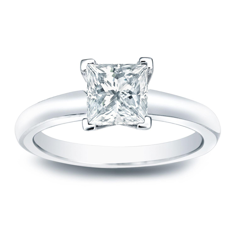 Auriya k gold ct tdw princesscut diamond vend solitaire