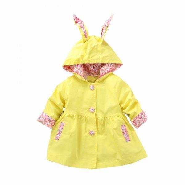 Toddler Rain Coat Yellow Floral Bunny Adorable Cute Rain Jacket Girls Rain Jackets Toddler Raincoat