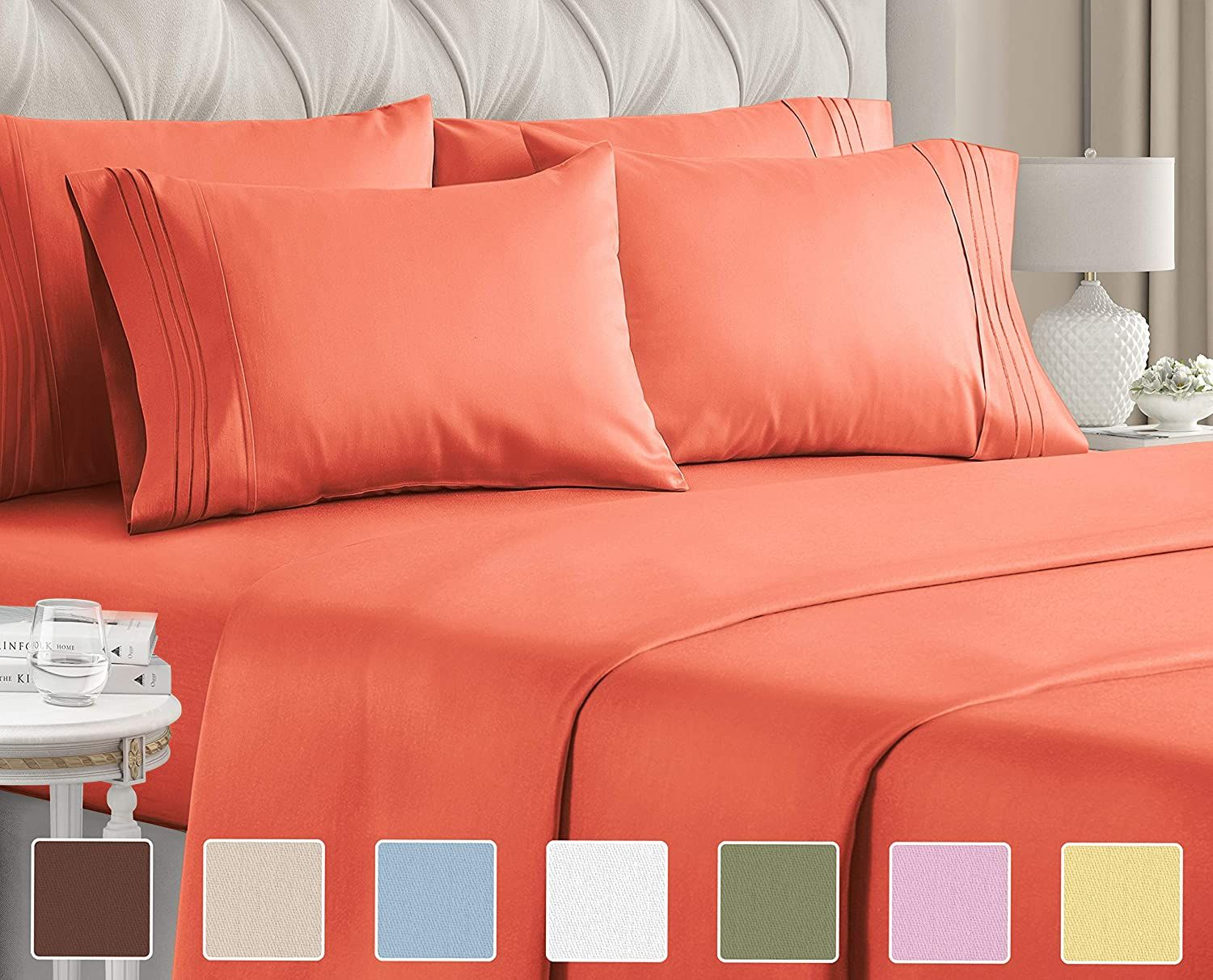 Queen Size Sheet Set 6 Piece Set Hotel Luxury Bed Sheets Extra Soft Deep Pockets Easy Fit Breatha Bed Sheet Sets Queen Size Sheets Sheet Sets Queen 18 inch deep pocket queen sheets