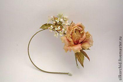 """Ободок """"Ирида"""". Цветы из шелка. - ободок цветы,ободок для волос,цветы из шелка"""