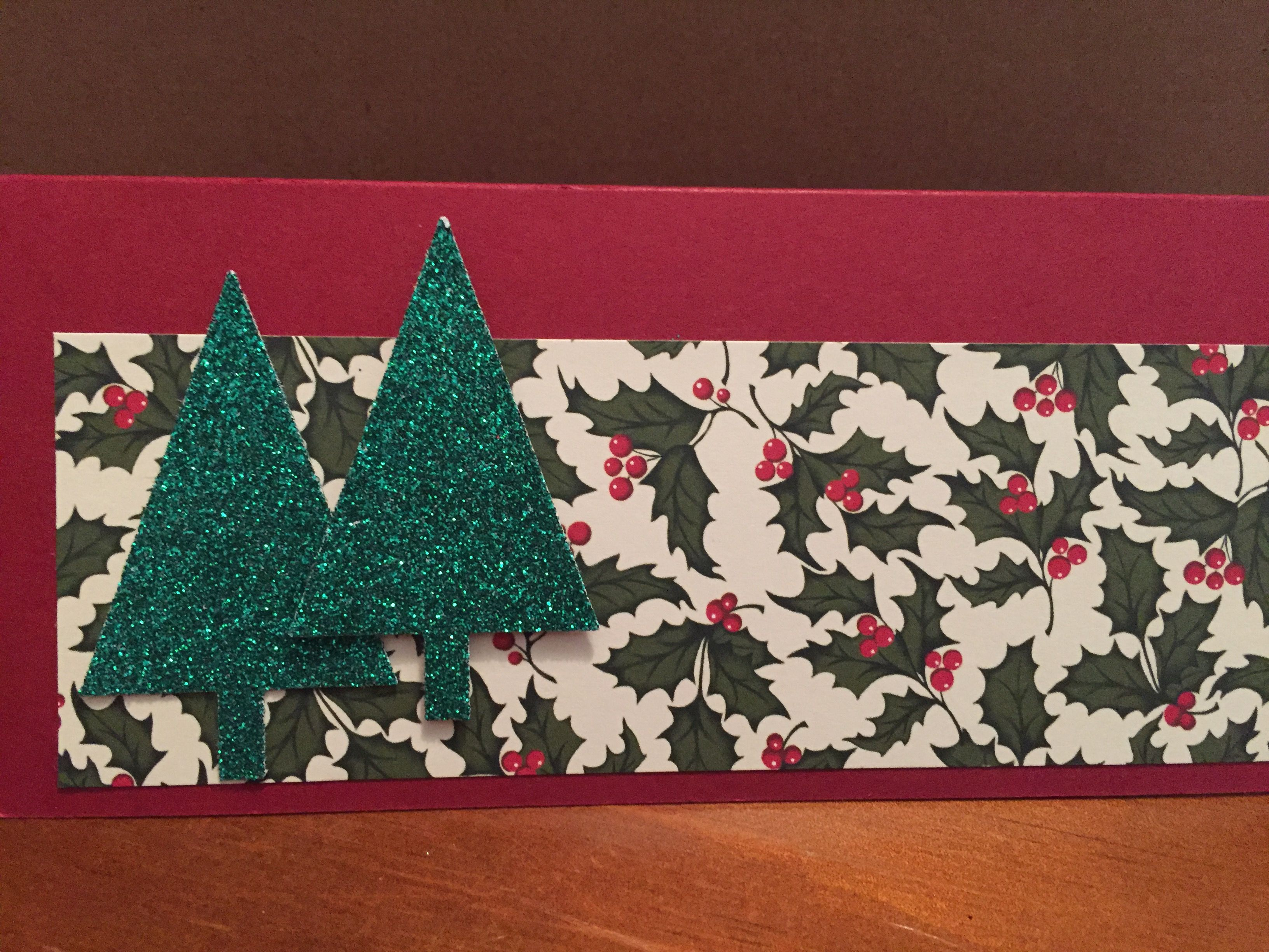 Christmas money holder, made with Stampin up paper and card (Home for Christmas DSP), Festival of Trees punch.