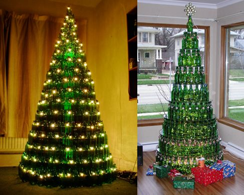 The Tree On The Right Is Made Of Grolsch Bottles Description From Pinterest Com Wine Bottle Christmas Tree Unique Christmas Trees Traditional Christmas Tree