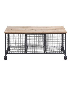 Love This Wire Basket Rolling Storage Bench By Uma