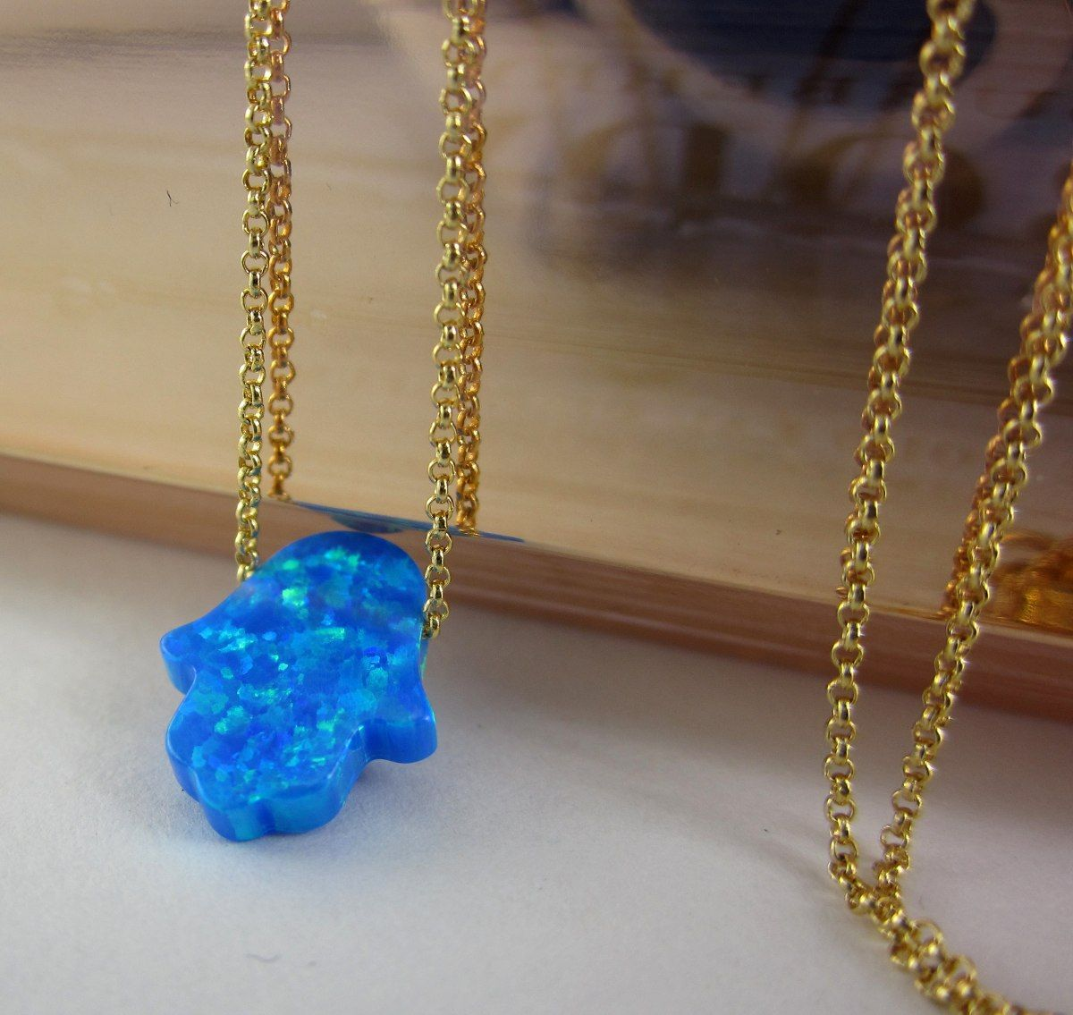 9f0bd79aff65 Collar mujer mano hamsa opalo cadena oro golfi lindas joyas Accesorios para  mujer