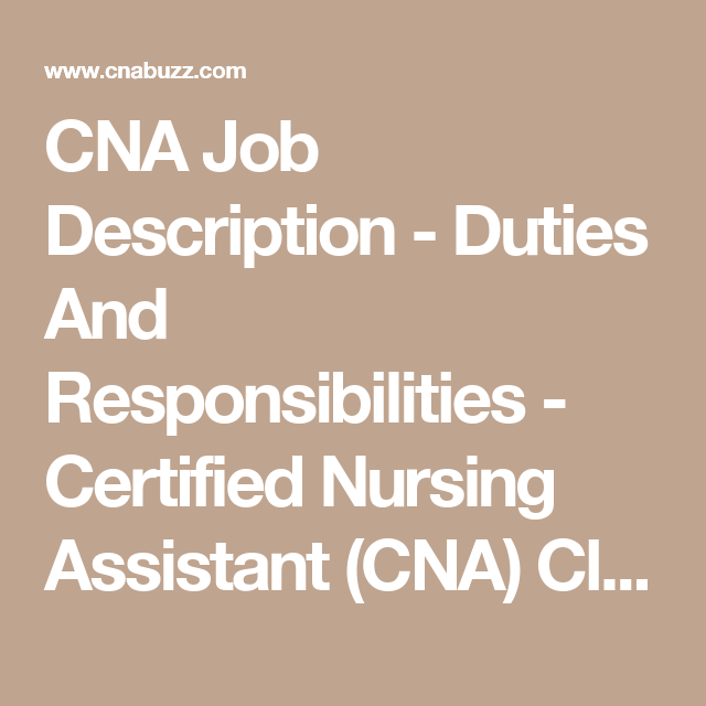 Cna Job Description  Duties And Responsibilities  Job