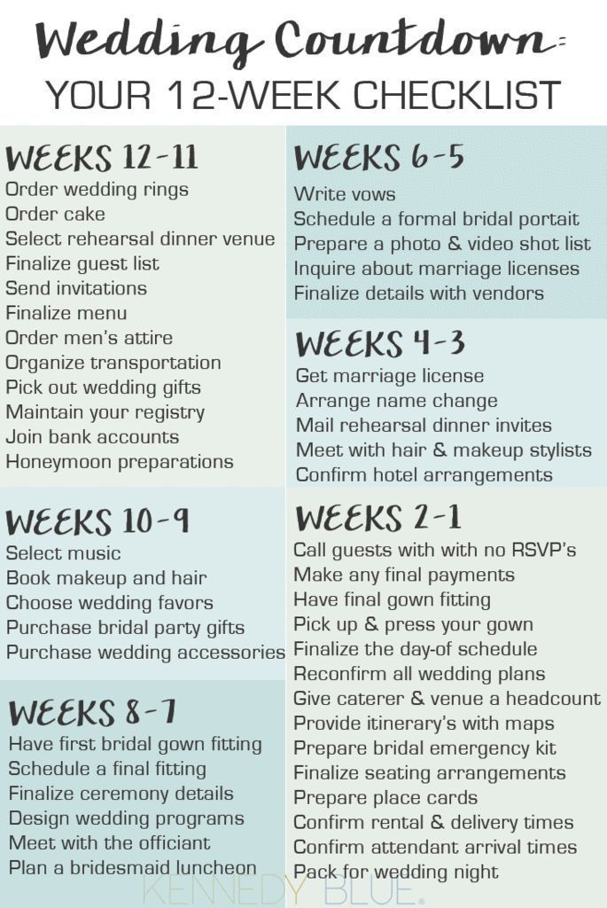 Your Wedding Countdown Checklist For 12 Weeks Before The Day