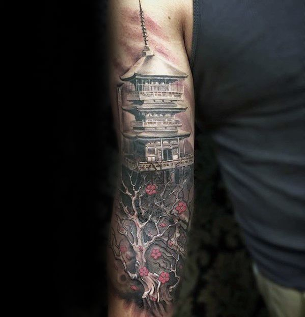 50 Japanese Temple Tattoo Designs For Men Buddhist Ink Ideas Tattoo Designs Men Temple Tattoo Japanese Temple Tattoo