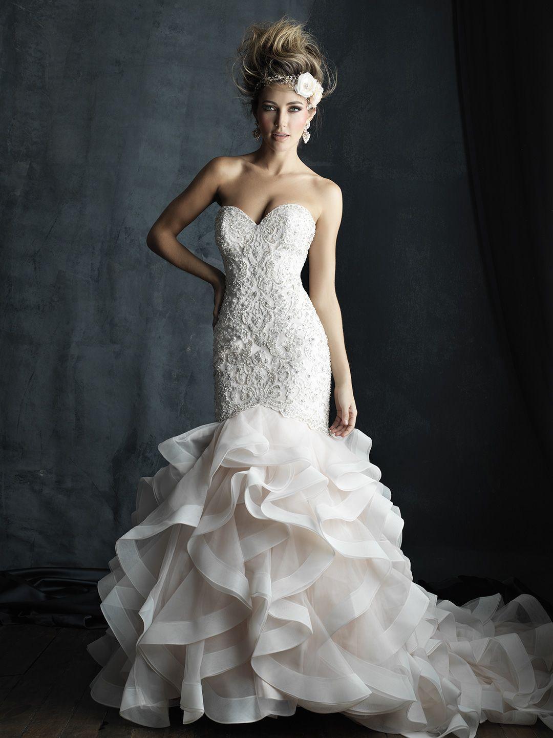Curve-hugging Allure Bridals gown with Swarvoski beadwork: http ...