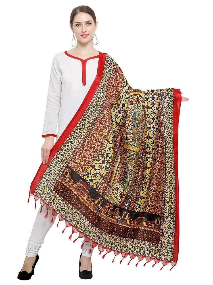 Multicoloured Stylish Women/'s Ethnic Printed Art Silk Dupatta Free Shipping