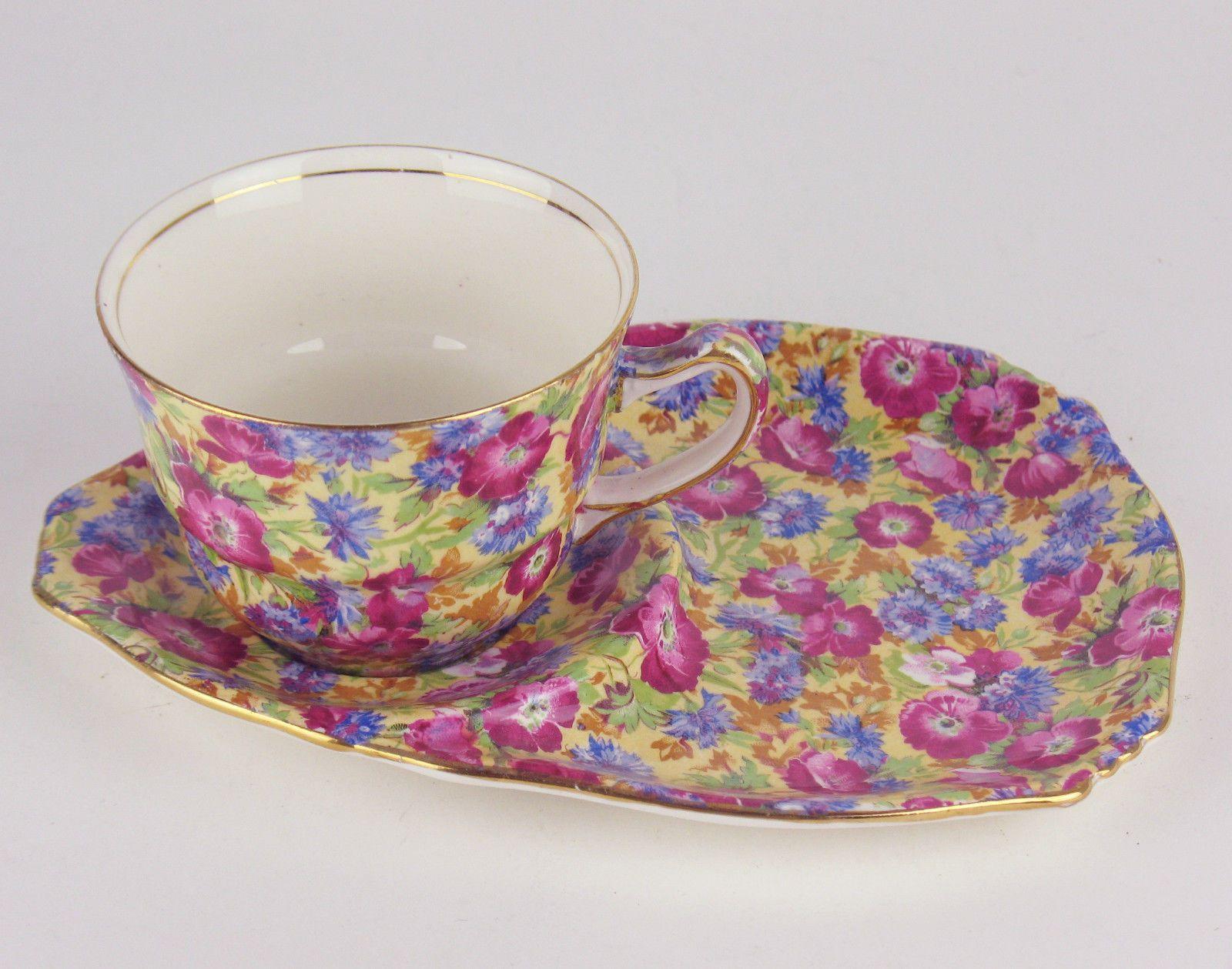 Royal albert bone china tea cup amp saucer winsome pattern ebay - Tea Biscuit Tennis Set Royal Winton Royalty Chintz Earthenware England Ebay