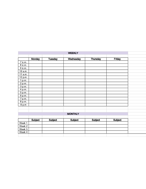 exam study schedule template