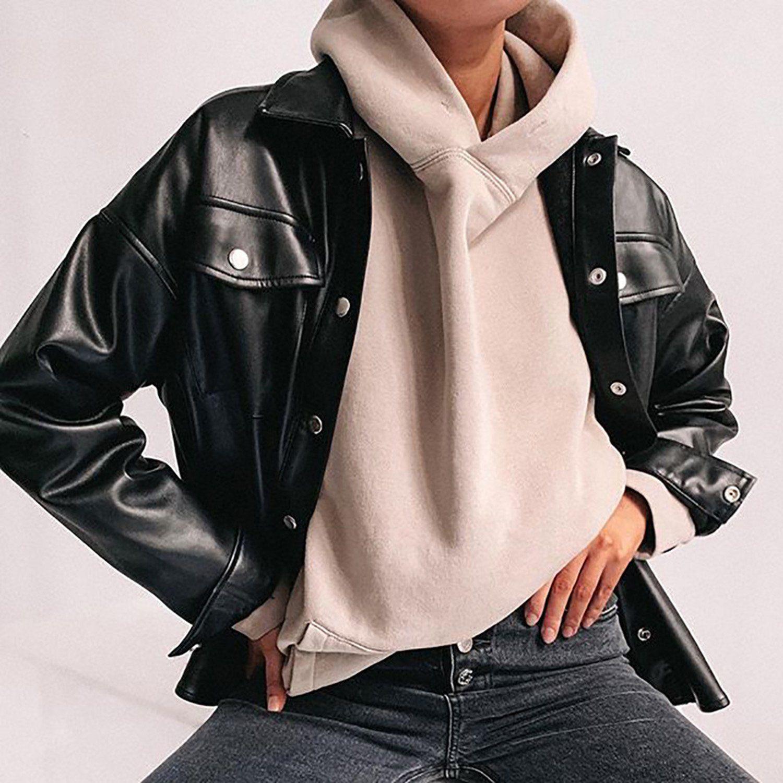 black leather jacket women faux leather jacket vegan