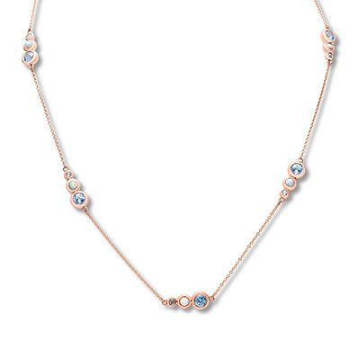 Blue & White Topaz & Lab-created Opal Necklace 10K Rose
