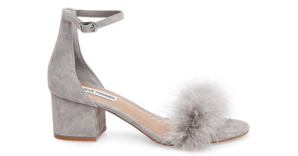 93d34b034c5 Buy Steve Madden Women s Gray Imelda Feather Block-heel Sandals