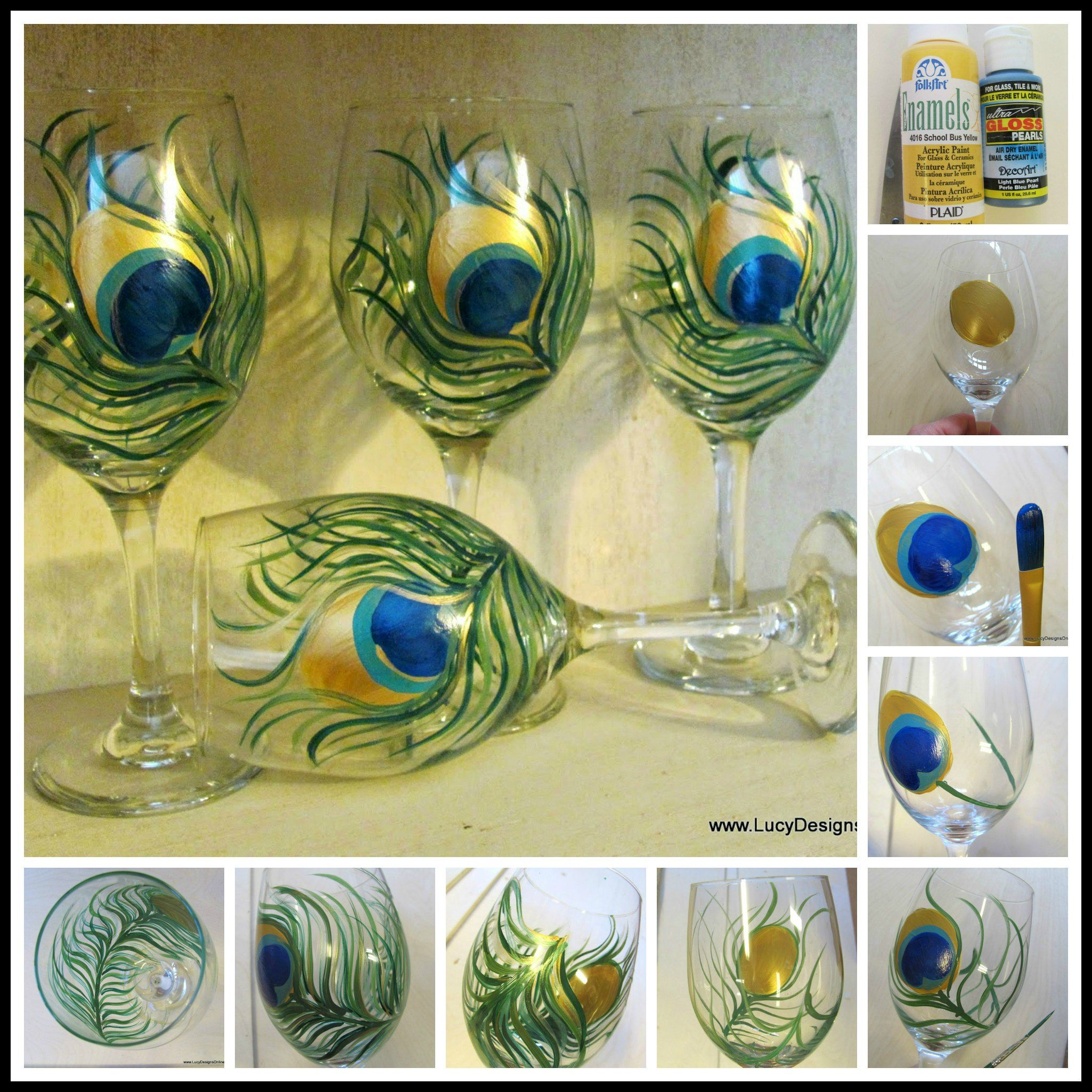 How to Paint on Glass Hand Painted Peacock Feather Wine Glasses