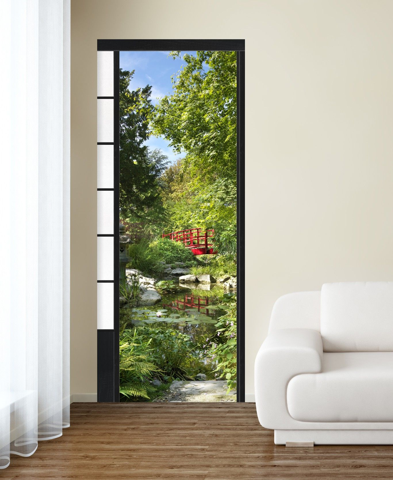 stickers de porte jardin zen du japon feng shui. Black Bedroom Furniture Sets. Home Design Ideas