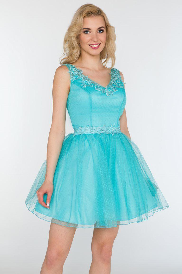 0074b6aa69 Balowa sukienka z szyfonu miętowa na wesele