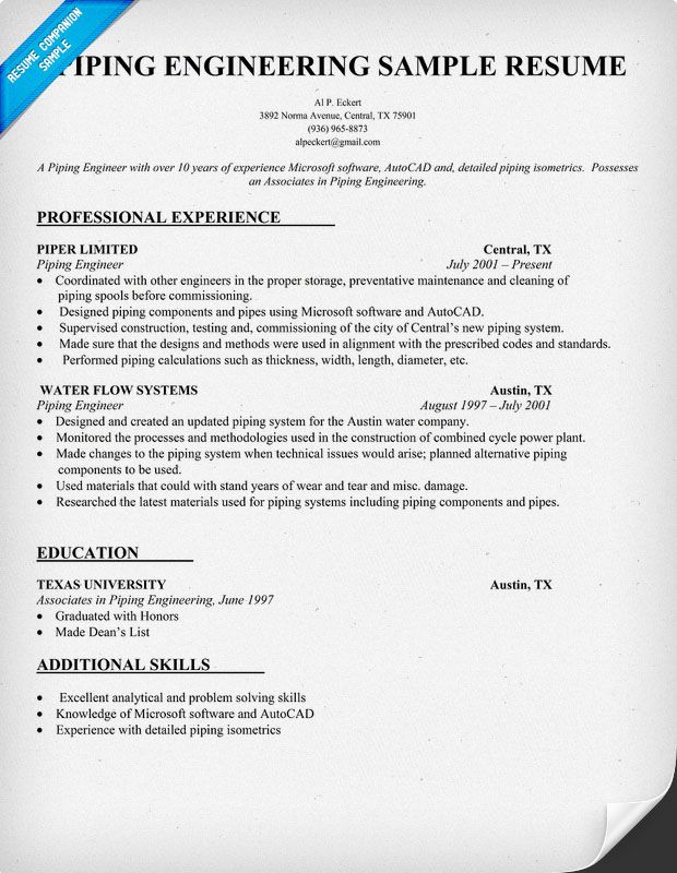 Piping Engineering Resume Sample (resumecompanion.com)  Engineering Resume Tips