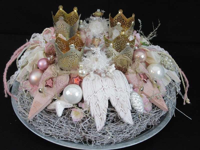 adventskranz rosa engelchen von fleuromantic auf dawanda. Black Bedroom Furniture Sets. Home Design Ideas