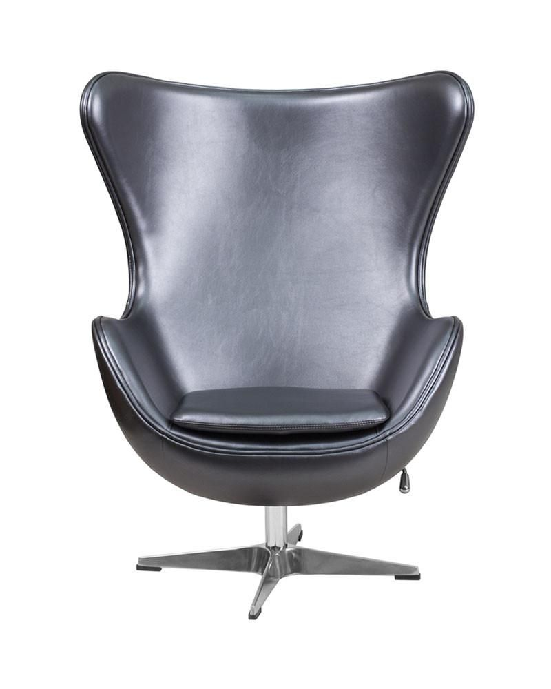 Flash Furniture Gray Leather Egg Chair With Tilt Lock Mechanism