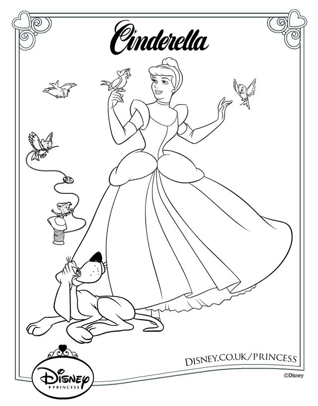 Disney Cinderella Colouring Page