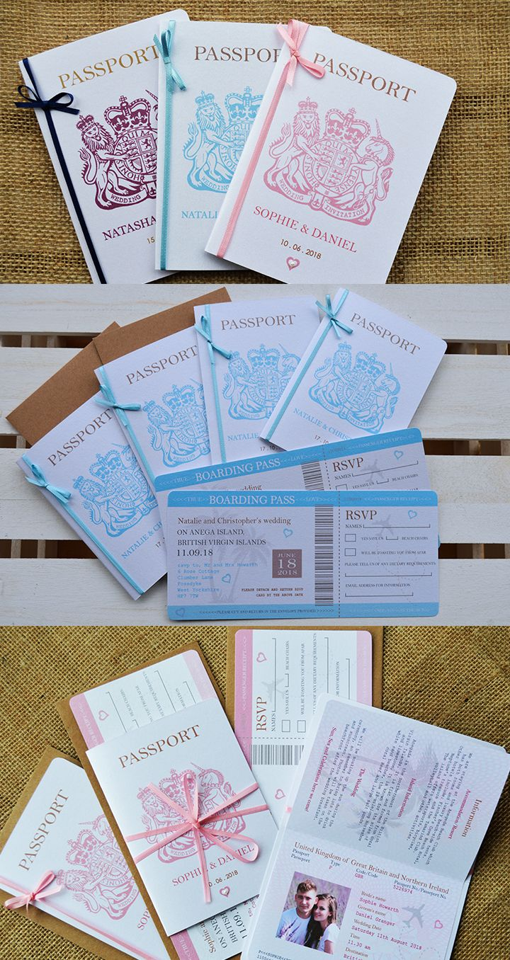 Bow Passport Wedding Invitation With Boarding Pass Rsvp