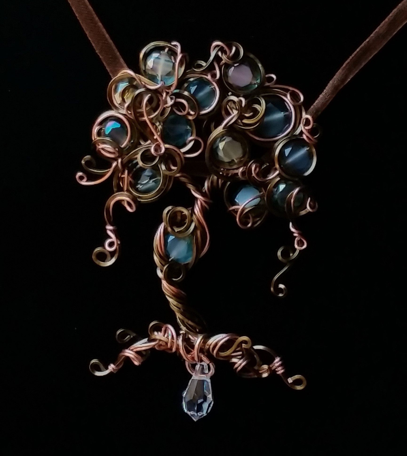 Free form wire wrapped tree of life pendant with beaded accents by Lepidus Plasmatio
