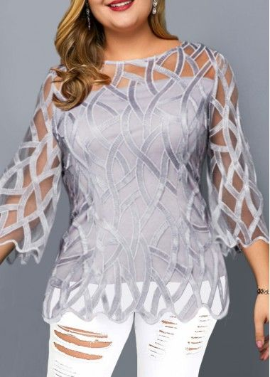 Photo of Plus Size Faux Two Piece Lace Panel Blouse