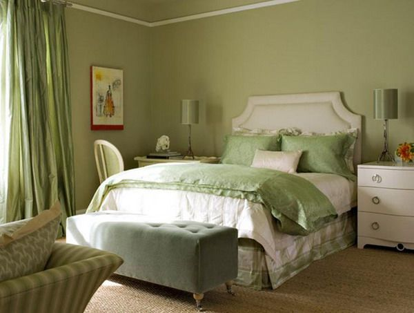 Small Master Bedroom Colors Design Ideas: Beautiful Shade Green Colors  Small Master Bedroom With Sofa