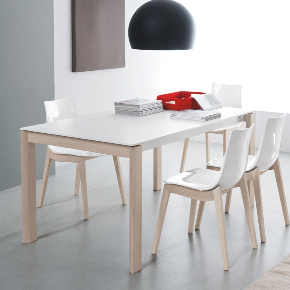 tavolo-da-pranzo-allungabile-bianco-con-gambe-in-legno-massello ...