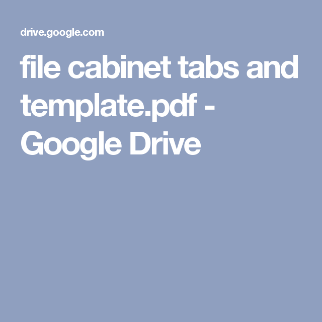 File Cabinet Tabs And Templatepdf