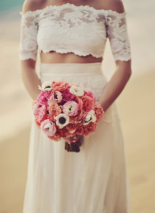 Oceanfront Puerto Rico Wedding Inspired By This Two Piece Wedding Dress Nontraditional Wedding Dress Crop Top Wedding Dress